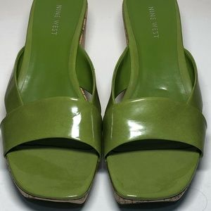 Nine West Green Patent Leather Cork Wedge